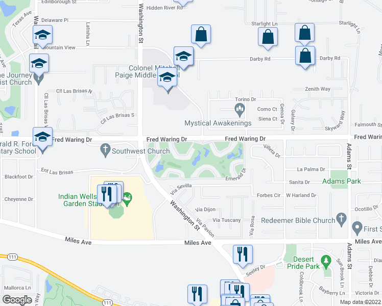 map of restaurants, bars, coffee shops, grocery stores, and more near 78475 Indigo Drive in La Quinta