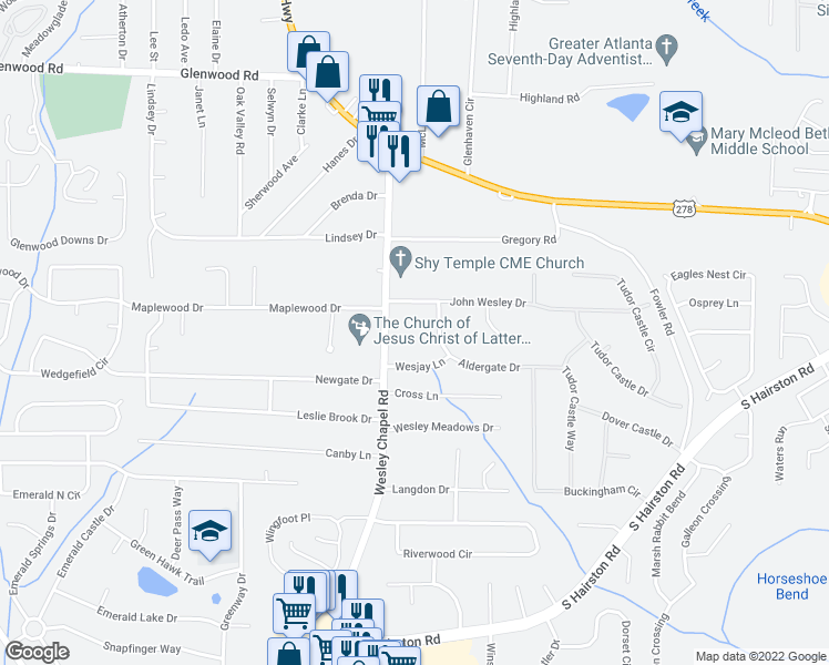 map of restaurants, bars, coffee shops, grocery stores, and more near 4315 John Wesley Drive in Decatur