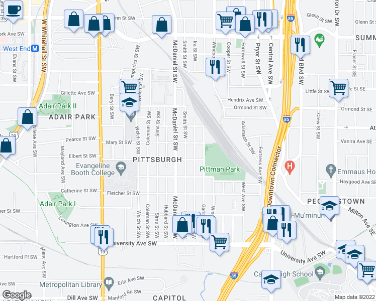 map of restaurants, bars, coffee shops, grocery stores, and more near 958 Smith Street Southwest in Atlanta