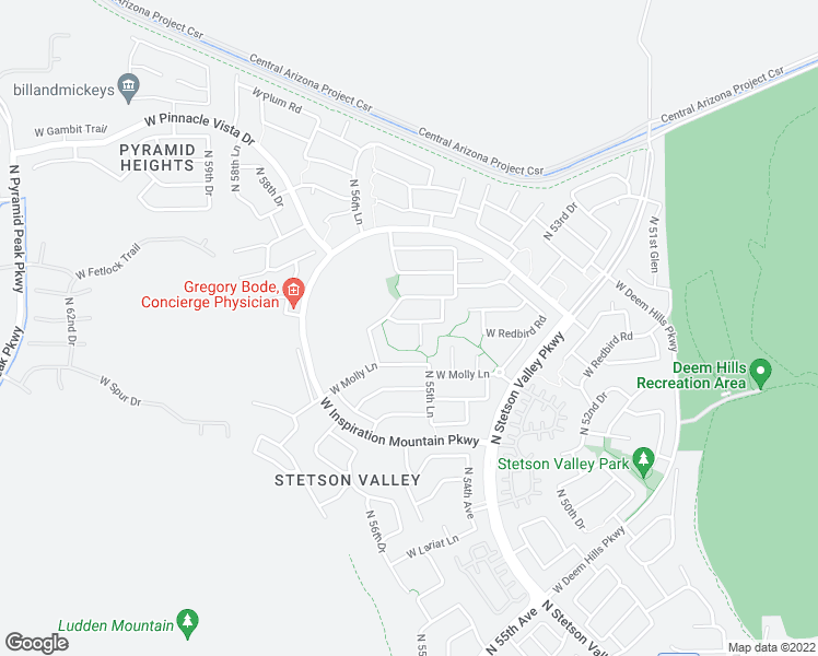 map of restaurants, bars, coffee shops, grocery stores, and more near 5605 West Tombstone Trail in Phoenix