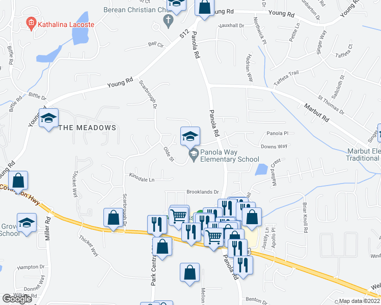 map of restaurants, bars, coffee shops, grocery stores, and more near Panola Court in Stone Mountain