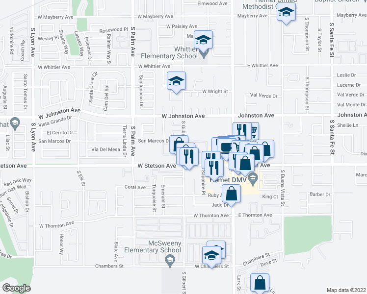 map of restaurants, bars, coffee shops, grocery stores, and more near 1025-1043 South Gilbert Street in Hemet