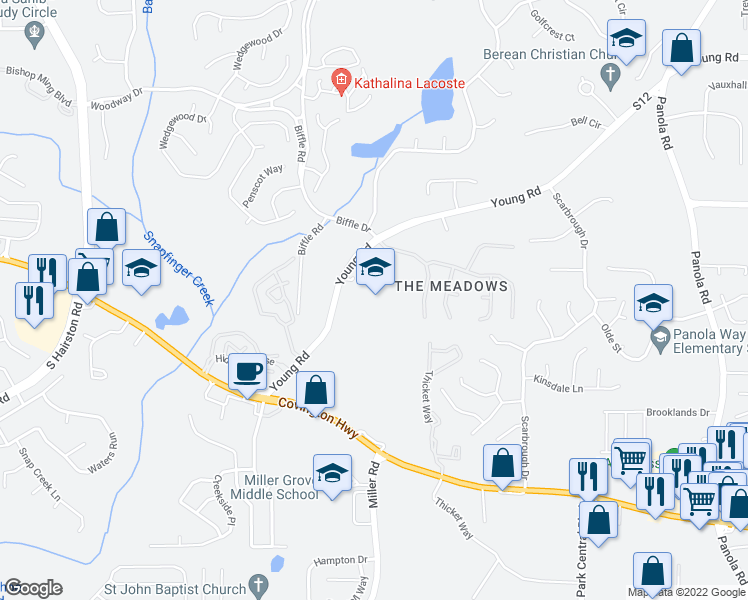 map of restaurants, bars, coffee shops, grocery stores, and more near 2584 Young Road in Stone Mountain