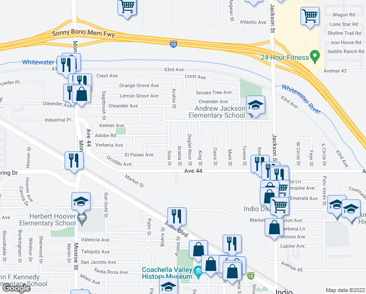map of restaurants, bars, coffee shops, grocery stores, and more near 43