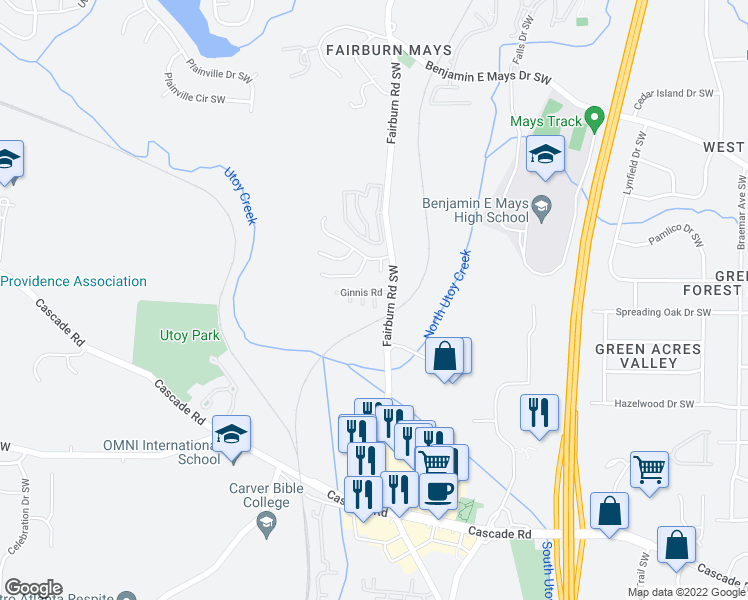 map of restaurants, bars, coffee shops, grocery stores, and more near 3609 Ginnis Circle Southwest in Atlanta