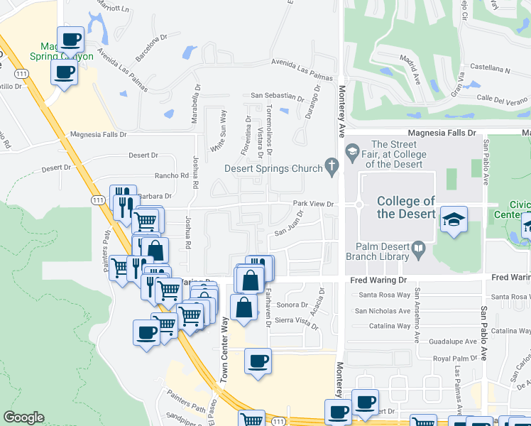 map of restaurants, bars, coffee shops, grocery stores, and more near 254 Paseo Vista Circle in Palm Desert
