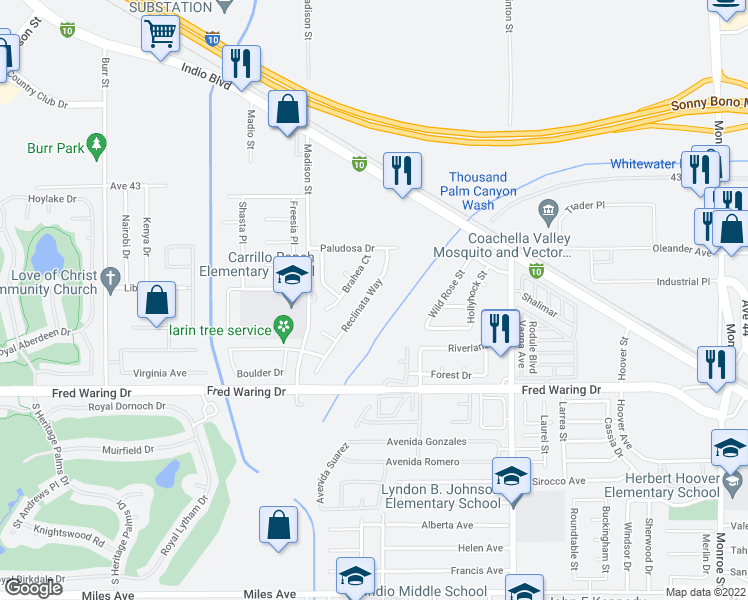 map of restaurants, bars, coffee shops, grocery stores, and more near 43600 Reclinata Way in Indio