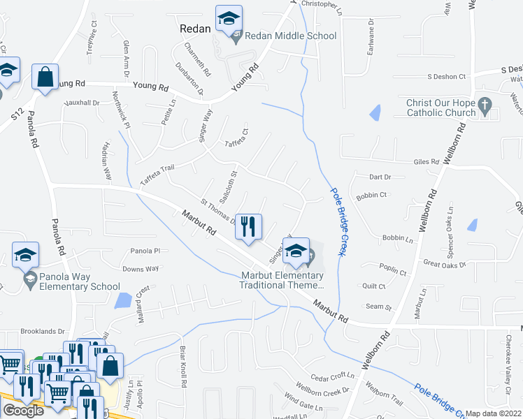 map of restaurants, bars, coffee shops, grocery stores, and more near Matthew Way in Lithonia