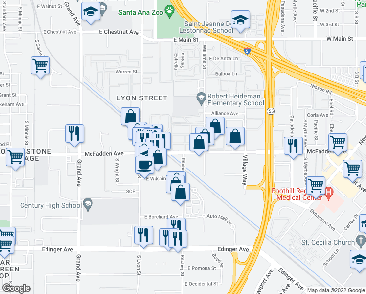 map of restaurants, bars, coffee shops, grocery stores, and more near 16331 East McFadden Avenue in Tustin
