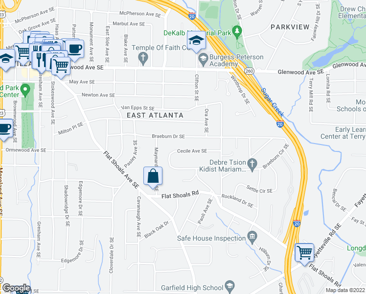 map of restaurants, bars, coffee shops, grocery stores, and more near 1660 Cecile Avenue Southeast in Atlanta