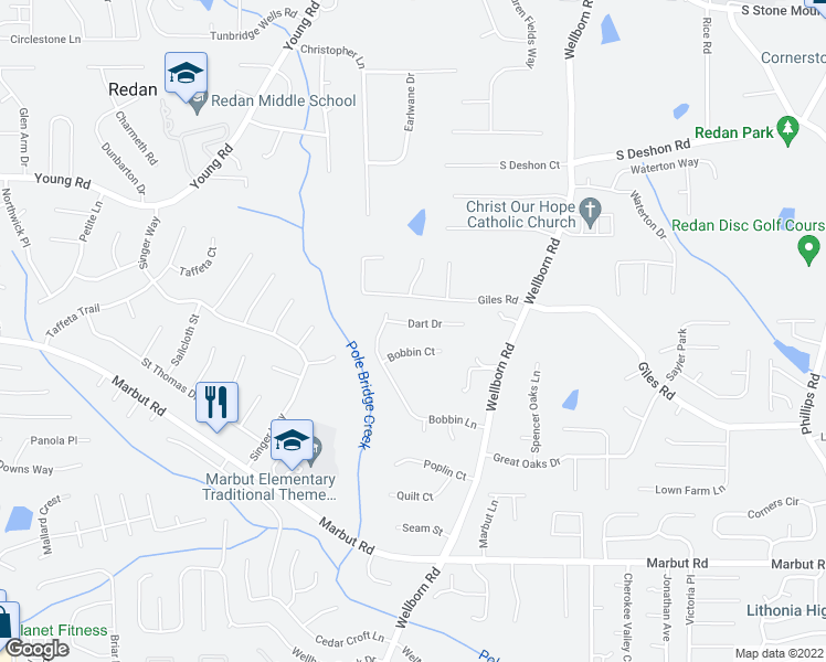 map of restaurants, bars, coffee shops, grocery stores, and more near 5927 Dart Drive in Lithonia