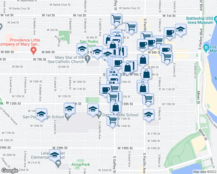 map of restaurants, bars, coffee shops, grocery stores, and more near 740 West 11th Street in Los Angeles