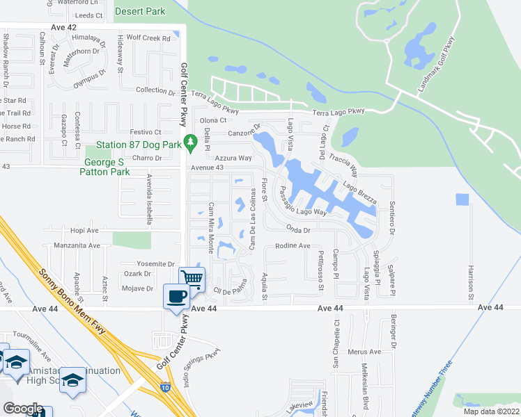 map of restaurants, bars, coffee shops, grocery stores, and more near 43273 Fiore Street in Indio