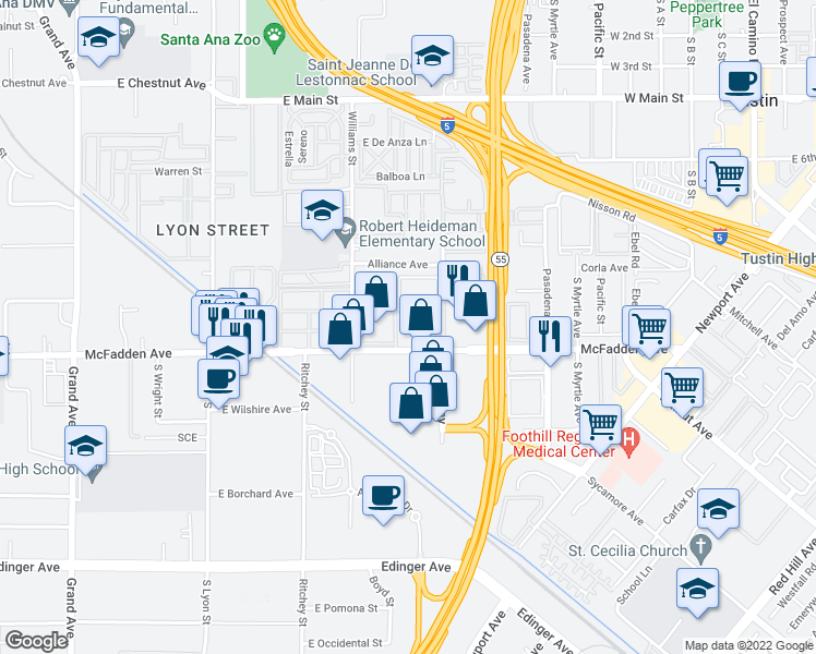 map of restaurants, bars, coffee shops, grocery stores, and more near 15761 Tustin Village Way in Tustin