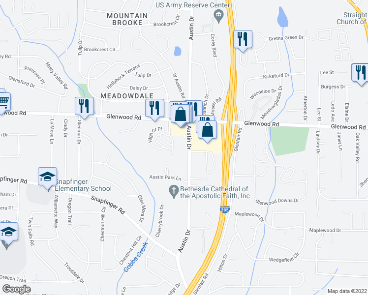 map of restaurants, bars, coffee shops, grocery stores, and more near 3801-3843 Austin Circle in Decatur