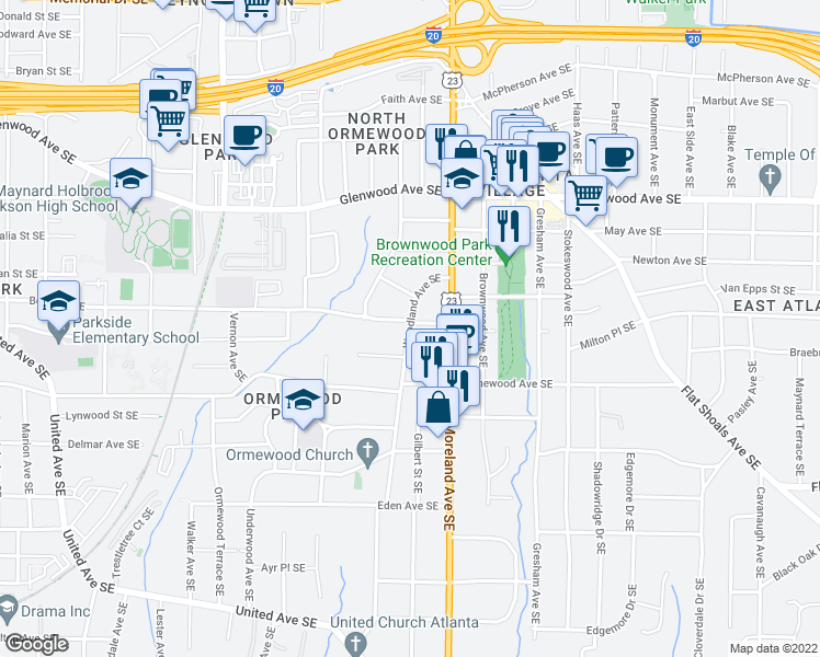 map of restaurants, bars, coffee shops, grocery stores, and more near 655 Woodland Avenue Southeast in Atlanta