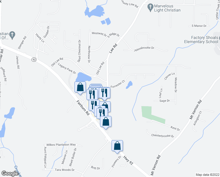 map of restaurants, bars, coffee shops, grocery stores, and more near 2725 Forrester Court in Lithia Springs