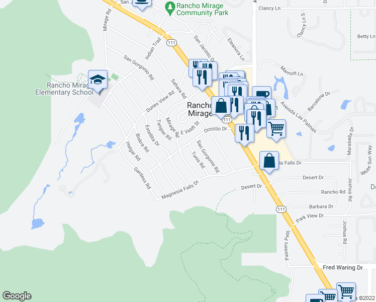 map of restaurants, bars, coffee shops, grocery stores, and more near 71677 Tunis Road in Rancho Mirage