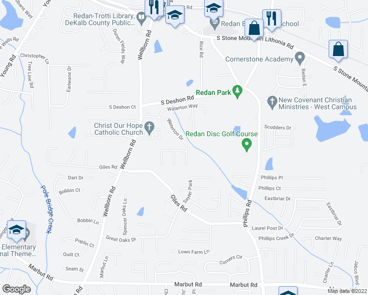 map of restaurants, bars, coffee shops, grocery stores, and more near 6226 Wellwater Way in Lithonia