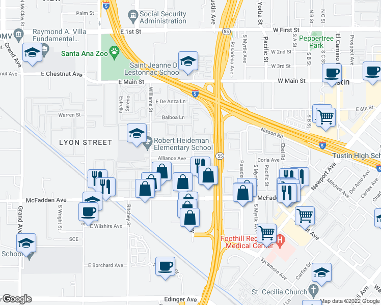 map of restaurants, bars, coffee shops, grocery stores, and more near 15601 Tustin Village Way in Tustin