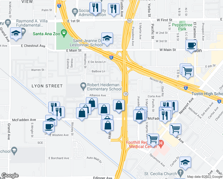 map of restaurants, bars, coffee shops, grocery stores, and more near 15560 Tustin Village Way in Tustin