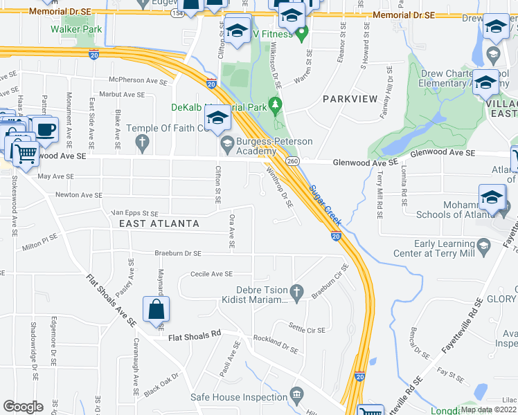 map of restaurants, bars, coffee shops, grocery stores, and more near 1760 Clifton Way Southeast in Atlanta