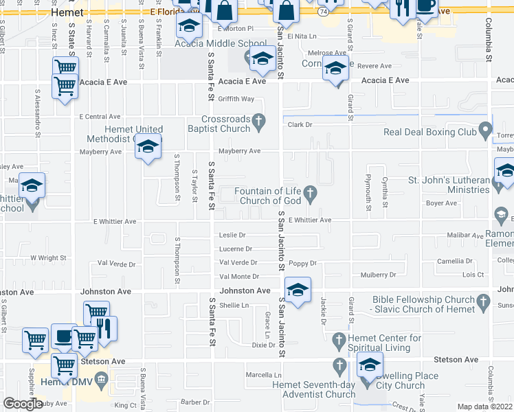 map of restaurants, bars, coffee shops, grocery stores, and more near 1205 Olive Tree Lane in Hemet