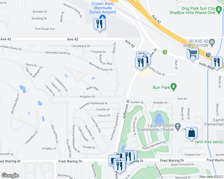 map of restaurants, bars, coffee shops, grocery stores, and more near 42775 Santiago Place in Indio
