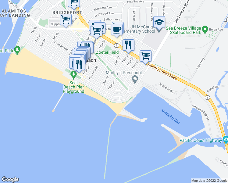 map of restaurants, bars, coffee shops, grocery stores, and more near 109 Dolphin Ave in Seal Beach