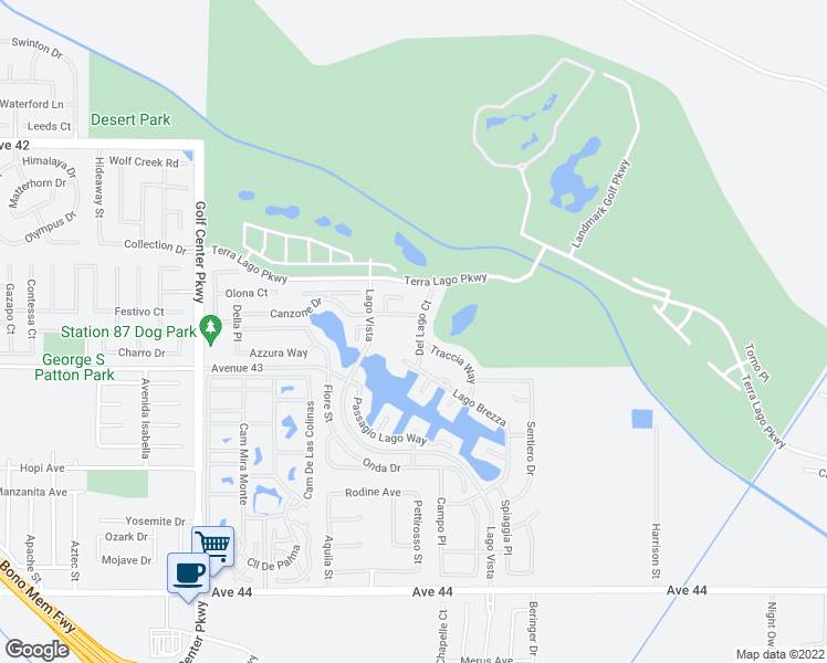 map of restaurants, bars, coffee shops, grocery stores, and more near 42827 Del Lago Court in Indio