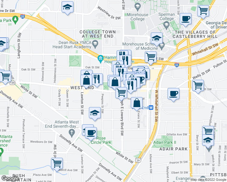 map of restaurants, bars, coffee shops, grocery stores, and more near 934 Ralph David Abernathy Boulevard in Atlanta