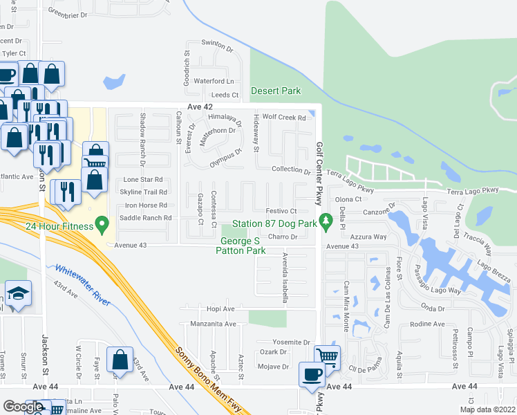 map of restaurants, bars, coffee shops, grocery stores, and more near 42724 Corvado Street in Indio