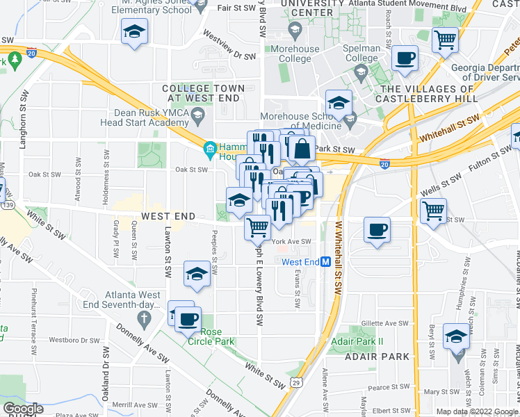 map of restaurants, bars, coffee shops, grocery stores, and more near Skylofts Atlanta in Atlanta