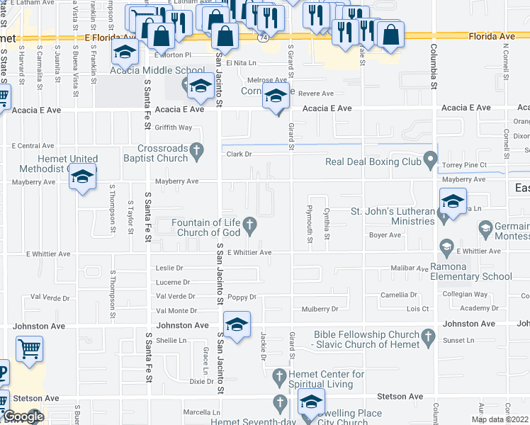 map of restaurants, bars, coffee shops, grocery stores, and more near 26284 Investors Place in Hemet