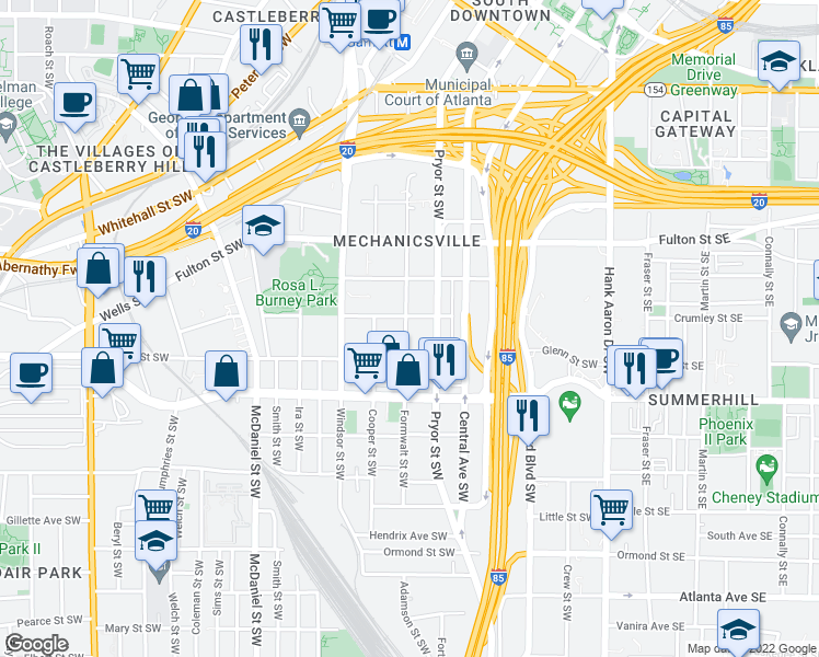 map of restaurants, bars, coffee shops, grocery stores, and more near 574 Formwalt Street Southwest in Atlanta