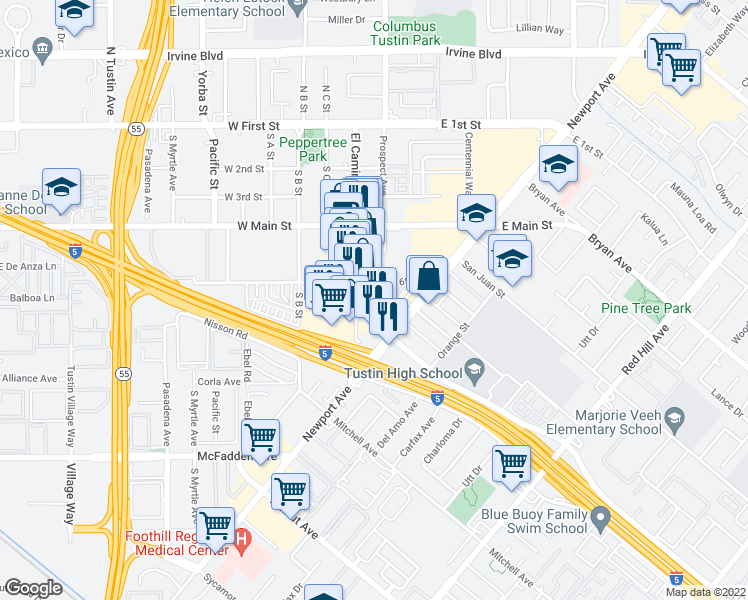 map of restaurants, bars, coffee shops, grocery stores, and more near 633 Ambrose Lane in Tustin