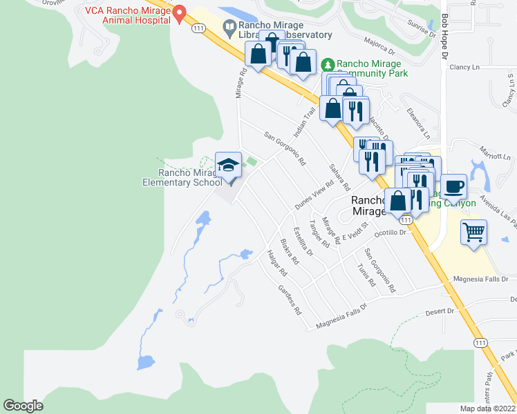 map of restaurants, bars, coffee shops, grocery stores, and more near 71341 Biskra Road in Rancho Mirage