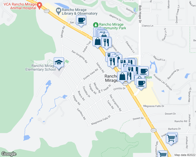 map of restaurants, bars, coffee shops, grocery stores, and more near 42462 Rancho Las Palmas Drive in Rancho Mirage