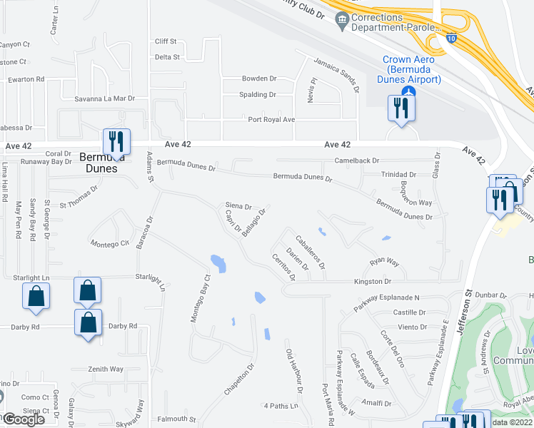 map of restaurants, bars, coffee shops, grocery stores, and more near 42484 Bellagio Drive in Bermuda Dunes