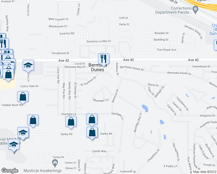 map of restaurants, bars, coffee shops, grocery stores, and more near 78910 Montego Bay Cir in Bermuda Dunes