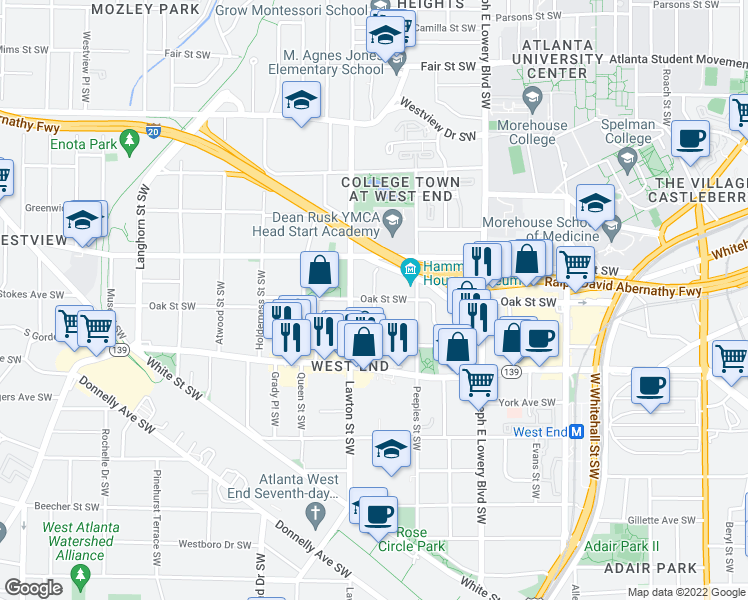 map of restaurants, bars, coffee shops, grocery stores, and more near Oak St SW & Culberson St SW in Atlanta