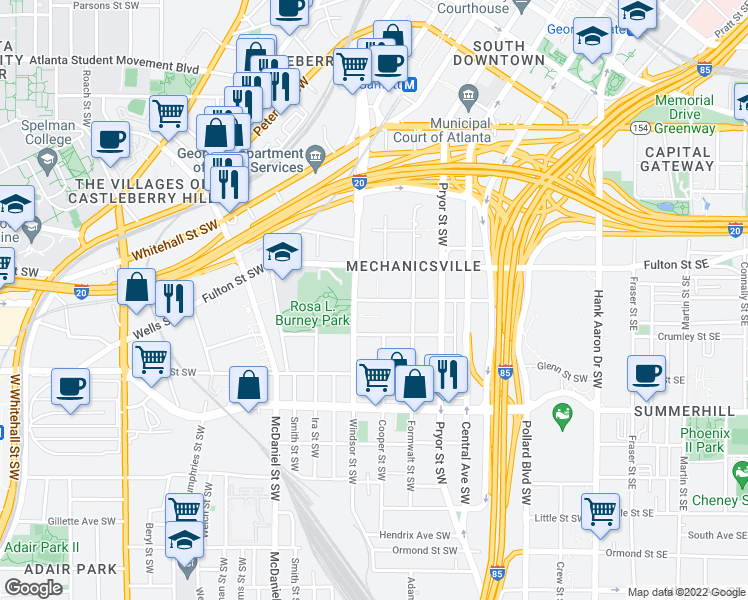 map of restaurants, bars, coffee shops, grocery stores, and more near 301 Richardson Street Southwest in Atlanta