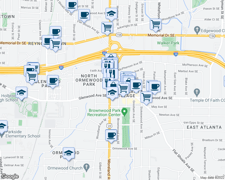 map of restaurants, bars, coffee shops, grocery stores, and more near 483 Moreland Avenue Southeast in Atlanta
