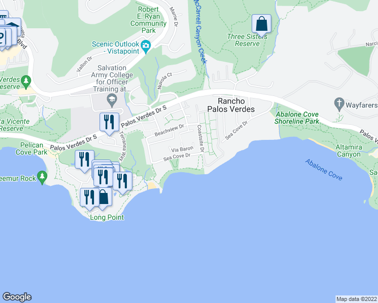 map of restaurants, bars, coffee shops, grocery stores, and more near 6418 Via Baron in Rancho Palos Verdes