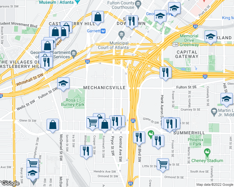 map of restaurants, bars, coffee shops, grocery stores, and more near 502 Pryor Street Southwest in Atlanta