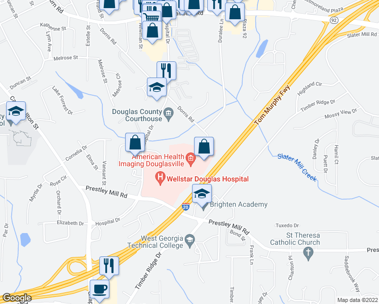 map of restaurants, bars, coffee shops, grocery stores, and more near 6029 Professional Parkway in Douglasville