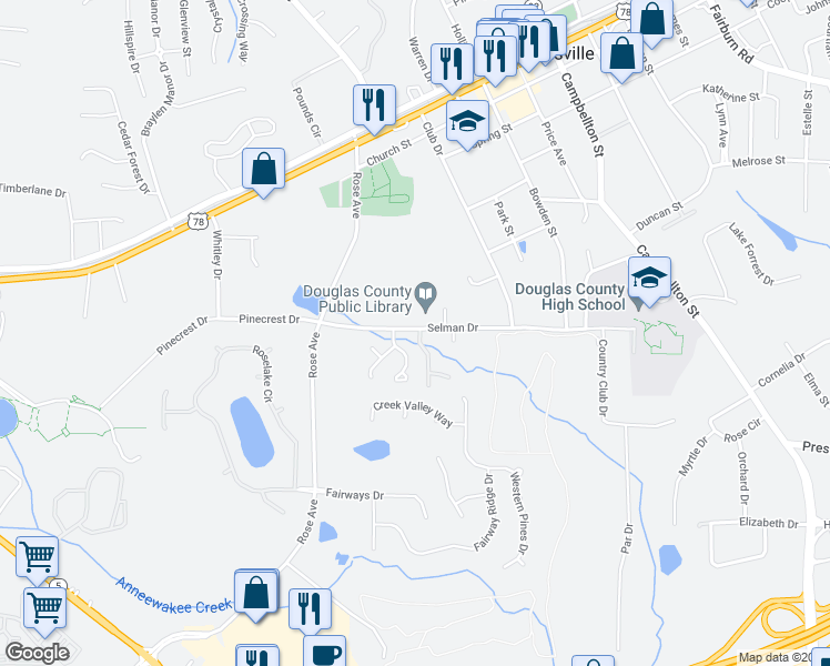 map of restaurants, bars, coffee shops, grocery stores, and more near 6833 Selman Drive in Douglasville