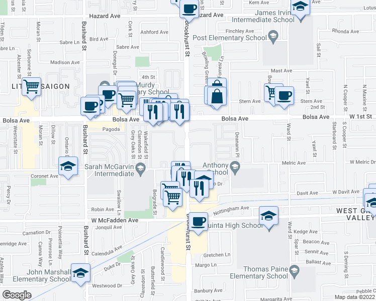 map of restaurants, bars, coffee shops, grocery stores, and more near 15130 Brookhurst Stree