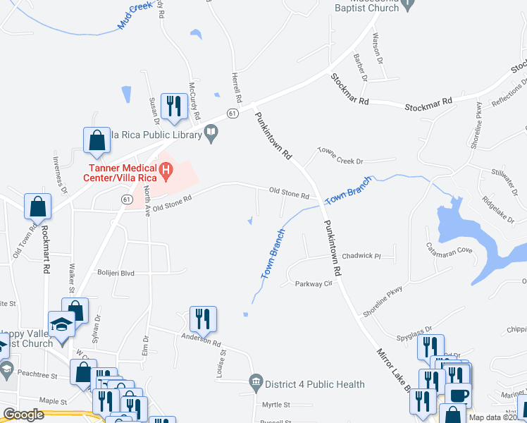 map of restaurants, bars, coffee shops, grocery stores, and more near 45 Nugget Drive in Villa Rica