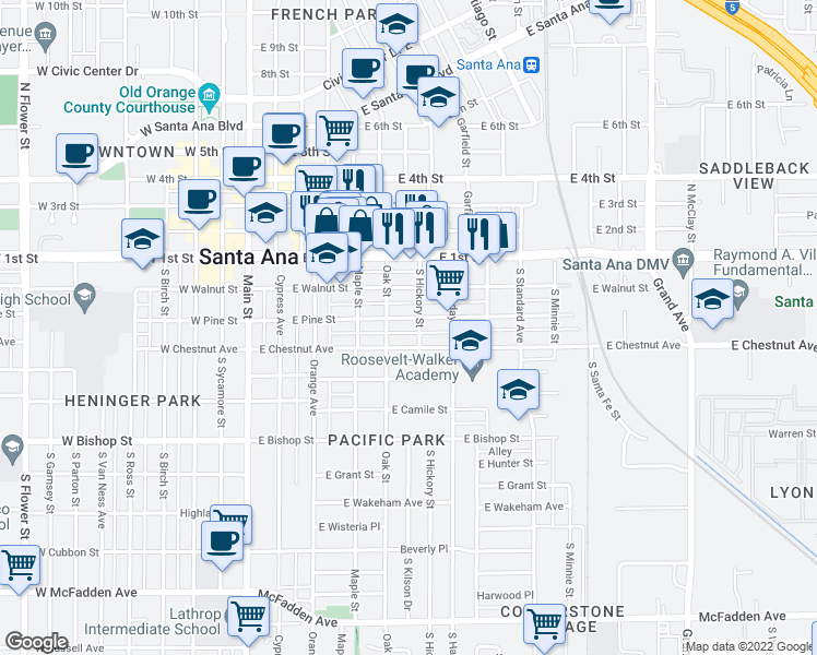 map of restaurants, bars, coffee shops, grocery stores, and more near 579-599 East Chestnut Avenue in Santa Ana